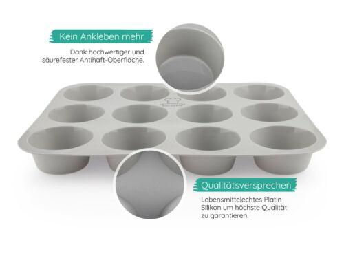 Muffinbackform aus Silikon-Muffinblech 12er Muffinform Grau –Ø 6,5 cm Backefix
