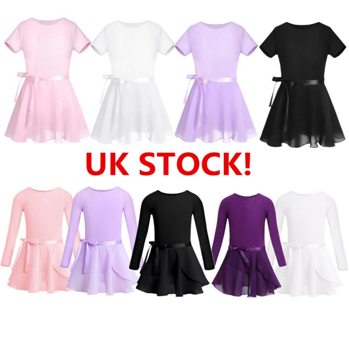UK Girls Ballet Dance Dress Chiffon Gymnastics Leotard+Wrap Skirt Skate Costume
