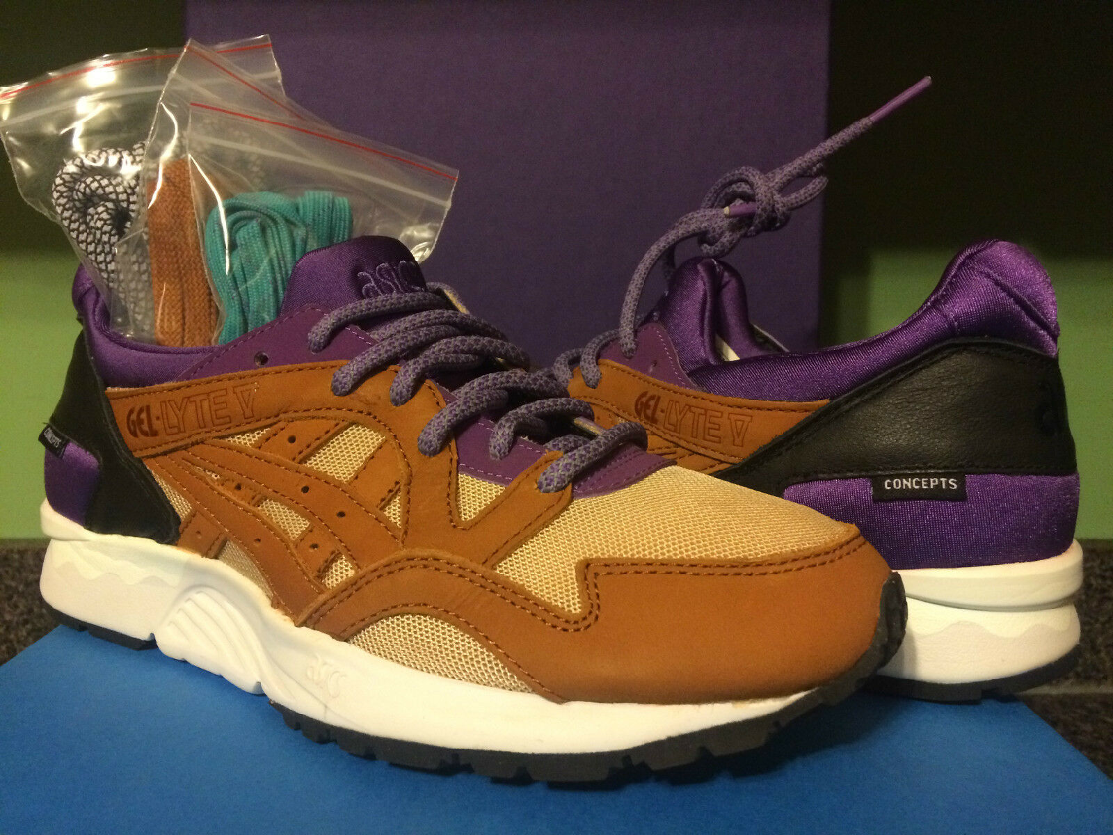 ASICS X CONCEPTS GEL LYTE V 5-11 H54BK PURPLE CHESTNUT MIX AND MATCH. CNCPTS BOX