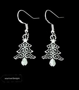 7d4390b72 Image is loading SILVER-CHRISTMAS-TREE-EARRINGS-STERLING-SILVER-HOOKS-WITH-