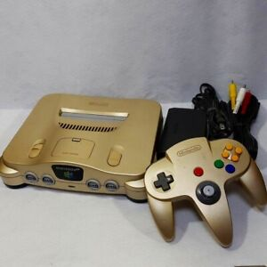 NINTENDO-64-gold-Console-set-N64-works-controller-Cable-Japanese