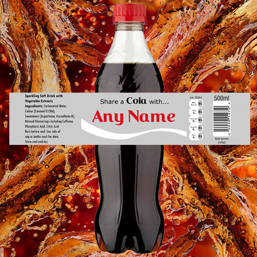 Personalised /'Share a Cola/' 500ml Bottle Label Wrapper Gift Birthday Present C2