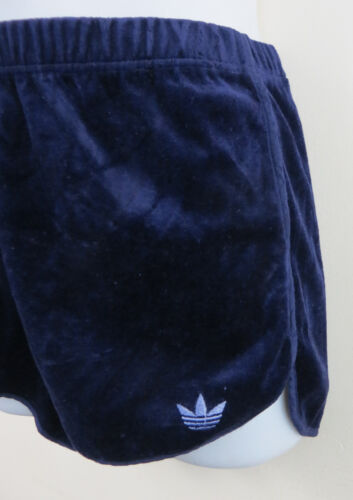 ADIDAS Donna 70 S 80 S in Velluto Shorts Blu Vintage 1980 S Retro Donna D42 16 14 18