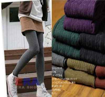 Womens Thick Knit Winter Leggings Fashion Footed Warm Cotton Stockings