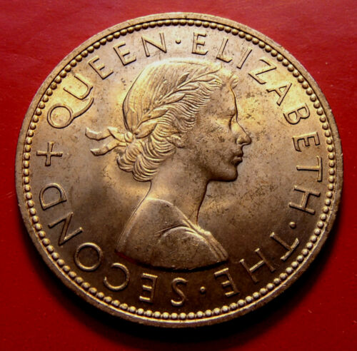 BU 1964 New Zealand Large Penny, Elizabeth II, Beautiful Bronze Piece, Sharp!