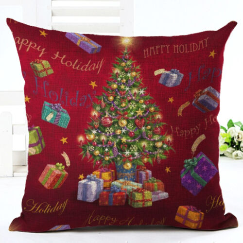 Hot Christmas Deer Cotton Linen Cushion Cover Pillow Case Square Home Decor Gif