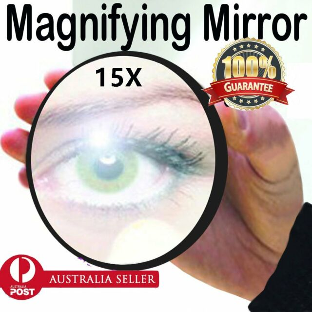 15x Magnifying Eye & Makeup Mirror with Suction cups 9cm Concave Non Rust O