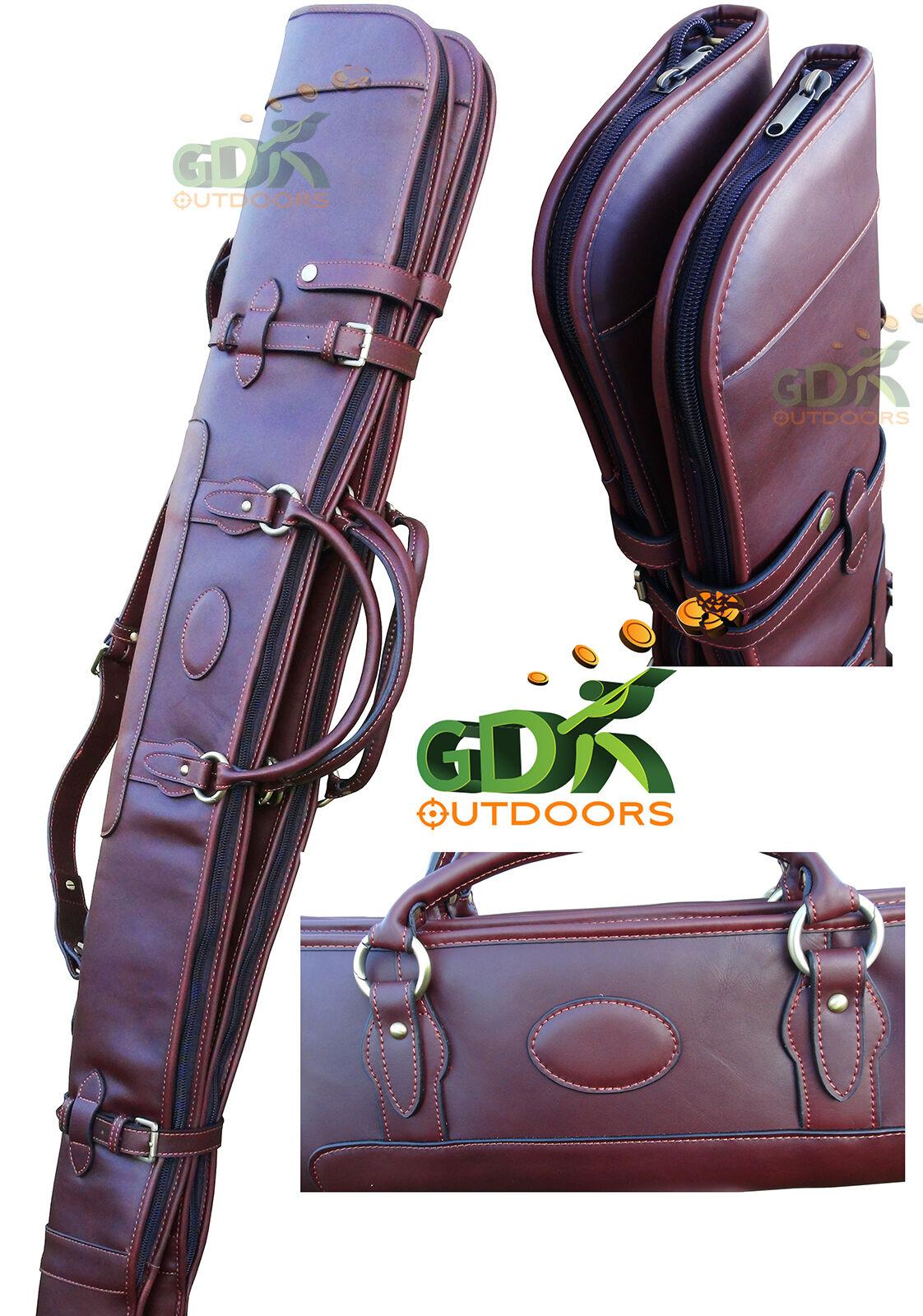 GDK Guardián, de cuero marrón oscuro Doble Escopeta Slip Desmontable, cremallera completa, 268DB