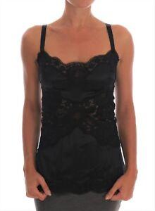 9c0f8643d72ce0 NEW  1750 DOLCE   GABBANA Black Silk Stretch Lace Top Dressing Gown ...