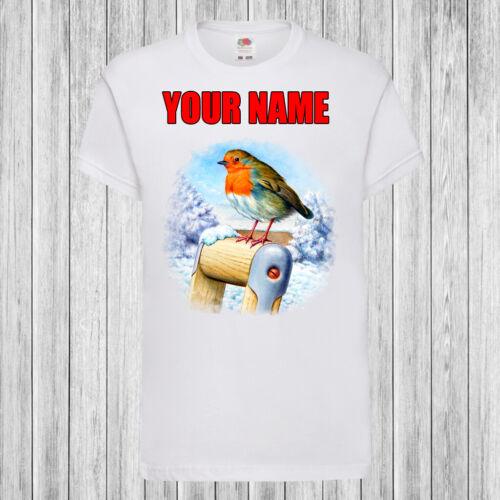 Neige Robin-Enfants//Enfants T-shirt DTG-personnalisé avec nom