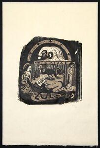Paul-Gauguin-034-TE-ATUA-034-1899-Rare-Woodcut-on-Japon-ed-100-in-port-case-mint