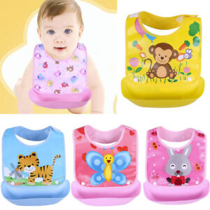 Image is loading Waterproof-Baby-Bibs-Silicone-Plastic-Bib-Apron-Cartoon- ecd604c18