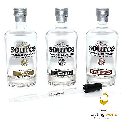 3 x UISGE SOURCE Schottisches Quell-Wasser zu Whisky Tastings + Pipette aus Glas