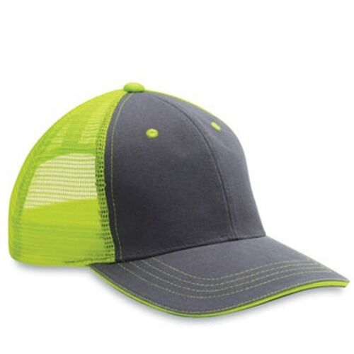 12 1 Dozen Blank Twill//Mesh Trucker Hats Neon Yellow Charcoal Hi VIZ Hats!