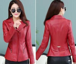 Ladies Spring Biker Faux Womens Coat Læder New Jacket Zip nPY4BwPzgq