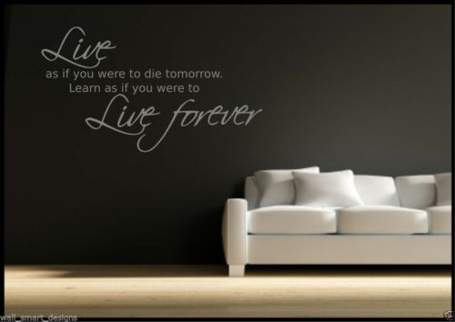 Live Forever Autocollant Mural Citation Salle de Chambre Decal Mural Transfert Art Pochoir