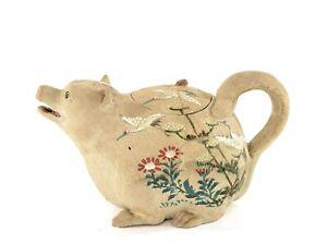 Old Japanese Banko Ware Pottery Tanuki Raccoon Shaped Teapot Crane Flower AS IS