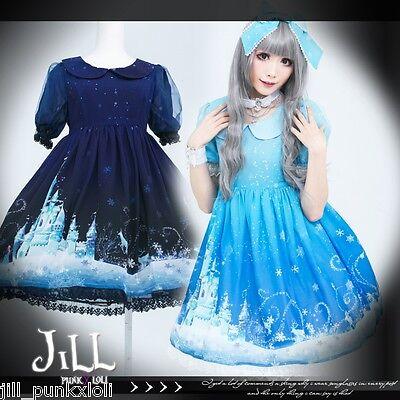lolita princess diary Arendelle ice castle S-Sleeve empire waist dress JI3061