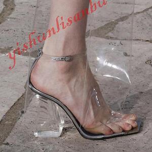 Women-Clear-Block-Heels-Peep-Toe-Roma-Sandals-Catwalk-Transparent-Pumps-Shoes-Sz