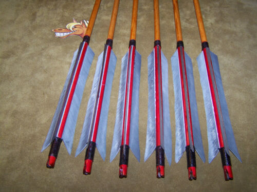 6 TRADITIONAL SELF NOCKS MEDIEVAL TANGED POINT   SCA  LODGE POLE  ARROWS
