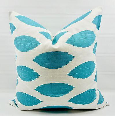 Cotton.Select size Coastal Blue /& White Pillow Cover.Chipper print.Best seller