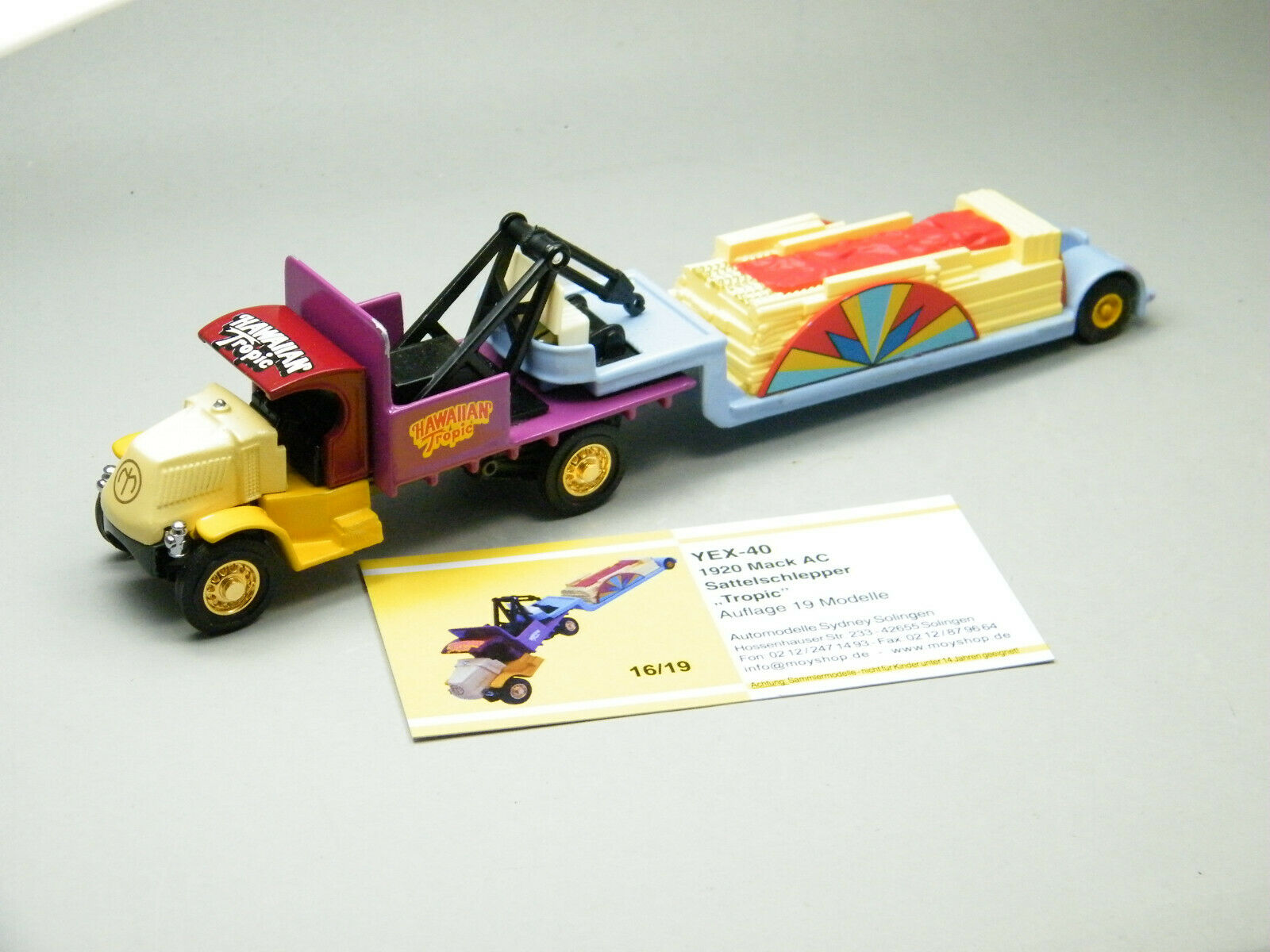 Matchbox moy código 2 yex-40 mack camión con remolque  feriantes  caja de madera 1 de 9