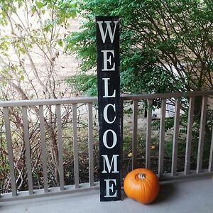 Image Is Loading Vertical Outdoor Welcome Sign Wood Signs Front Door