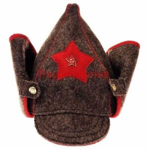 BUDENOVKA Military Gray Wool Hat Uniform ARMY USSR Soviet (Budyonovka) Red Star