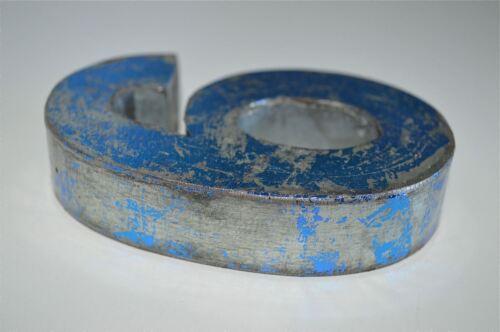 FANTASTIC VINTAGE STYLE BLUE 3D METAL SHOP SIGN NUMBER 6 ADVERTISING FONT
