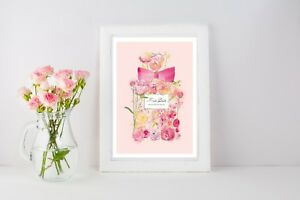 1054 Pink Paris Watercolour Print Poster A4 A5 A6 A3 Magazine Cover Girly