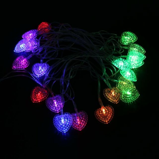 big sale b8562 23fc1 Heart Shaped Solar Christmas Lights Home Outdoor Garden Waterproof  Decorations
