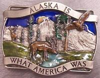 Pewter Belt Buckle State of Alaska colored NEW