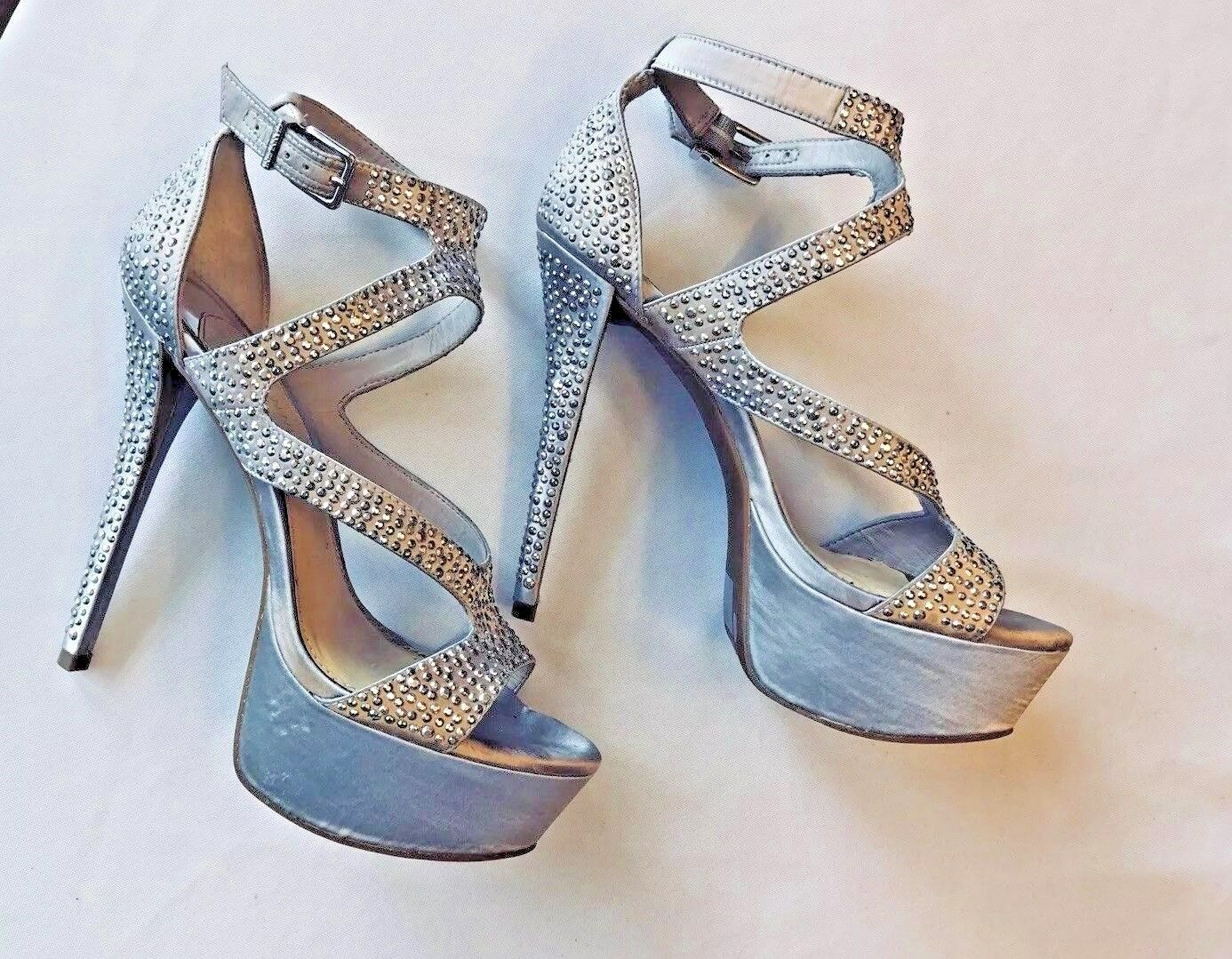 GIANNI BINI Womens Stiletto Platform Ankle Strap Sandals Size 7.5M Silver