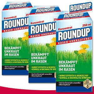 Roundup Rasen-Unkrautfrei 3x 250ml Konzentrat Klee Wegerich Hahnenfuß Löwenzahn