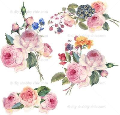 Furniture Decal Vintage Image Transfer Flower Cluster Shabby Chic Antique  DIY | eBay