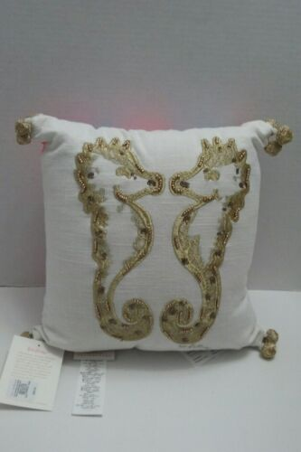 pottery barn lilly pulitzer NWT Embroidered Holding Your Horses Fan Sea Pillow