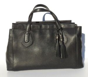 9e7bde63b $2450 GUCCI Lady Tassel Black Grained Leather Top Handle Tote Bag ...