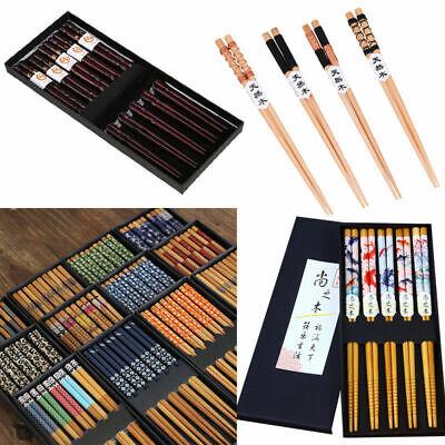 5 Pair Chinese Japanese Reusable Wooden Chopsticks Set Souvenir Gift