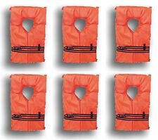 6 Pack Type II Orange Life Jacket Vest Adult Universal Boating PFD w/ Bag