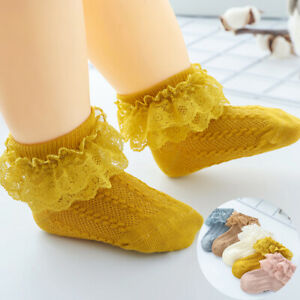 Solid Lace Ankle Socks Color Infant Cotton Baby Newborn Girl Kids Toddler Inside