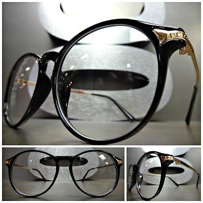 Mens Women CLASSIC VINTAGE RETRO Style Clear Lens EYE GLASSES Black /& Gold Frame