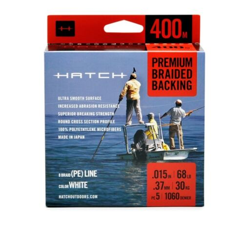 Hatch 400 Meters Premium Braided Fly Line Backing New Color White