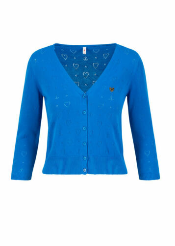 NEU ❤️ Blutsgeschwister logo cardigan v-neck 3//4 arm blue heart ❤️