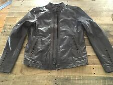 Men's Diesel Brown Leather Moto Jacket, Large/L Medium/M