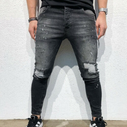 Mens Ripped Biker Skinny Jeans Frayed Destroyed Trousers Casual Denim Slim Pants