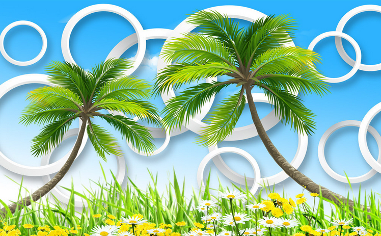 3D 3D 3D Coconut Palm Lawn 78 Wallpaper Mural Paper Wall Print Wallpaper Murals UK 499587