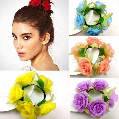 Flower Bun Garland Floral Head Knot Hair Scrunchie Band Elastic Bridal 6SUS