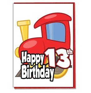 Toy Train 13th Birthday Card