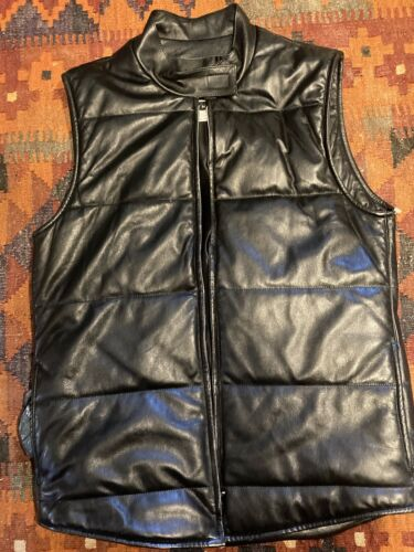 JOSEPH LEATHER QUILTED VEST M