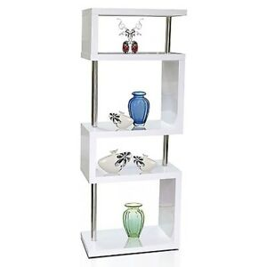 Image Is Loading Modern Designer Tall Square Gloss White Shelving Unit
